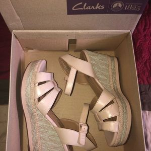 Clarks Zia Noble Nude Leather Wedges